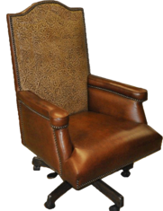 Baron Executive Chair- FRONT VIEW-...Color: Red brown Leather & Cowboy Tool Camel