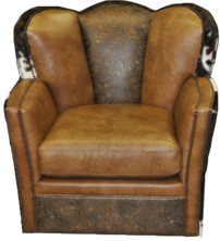 Conch Chair- FRONT VIEW-.. Color: Fargo Whiskey/ 5303 Vintage Tool/ HOH Brindle