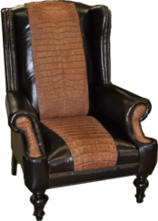 Look Wingback Chair- FRONT VIEW-... Color: Bison Black/ Tool