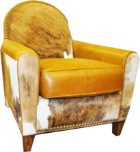 Miller Chair--FRONT VIEW-.. Color: Leather/ Golden HOH Tri Color