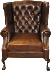 Roosevelt Chair-FRONT VIEW- .. Color: Leather